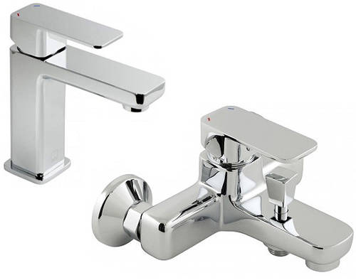 Additional image for Basin Mixer & Wall Mounted Bath Shower Mixer Tap Pack.