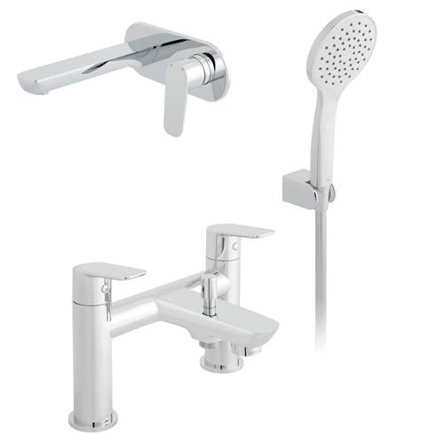 Additional image for Wall Mounted Basin & Bath Shower Mixer Tap With Kit.
