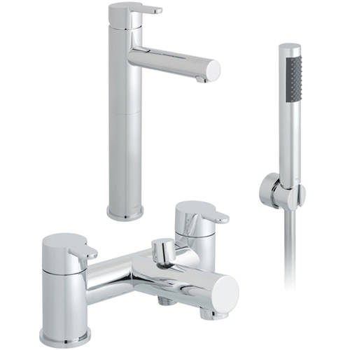Additional image for Extended Basin & Bath Shower Mixer Taps Pack (Chrome).