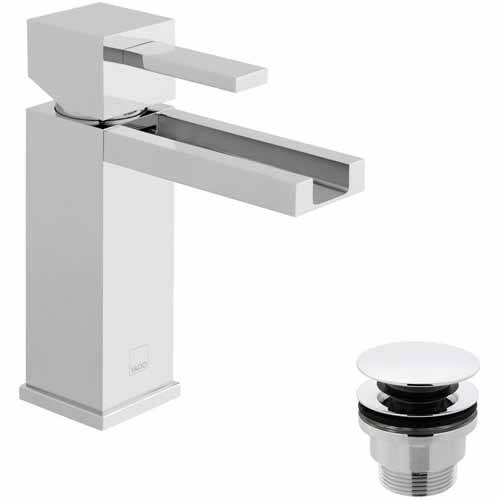 Additional image for Waterfall Mono Basin Mixer Tap With Universal Waste (Chrome).