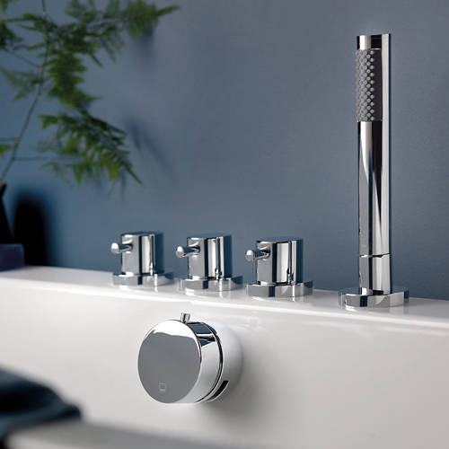 Additional image for 4 Hole Bath Shower Mixer Tap With Kit & Bath Filler Waste (Chrome).