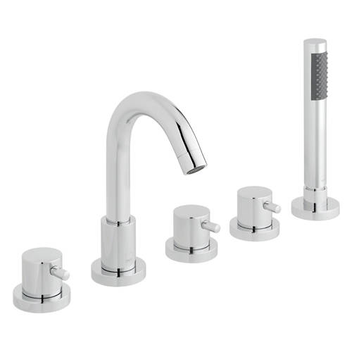 Additional image for 5 Hole Bath Shower Mixer Tap With Spout & Kit (Chrome).