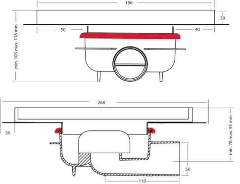 Additional image for Shower Tile Drain 196x196mm (ABS, Stainless Steel Frame).