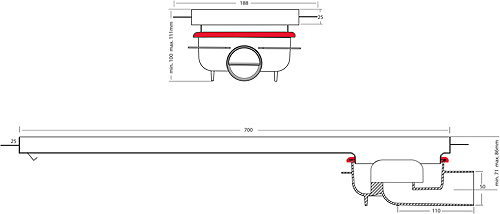 Additional image for Shower Channel With Rotational Outlet 700x150.
