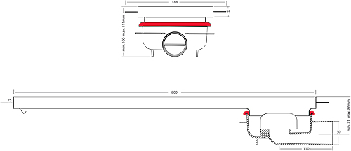 Additional image for Shower Channel With Rotational Outlet 800x150.