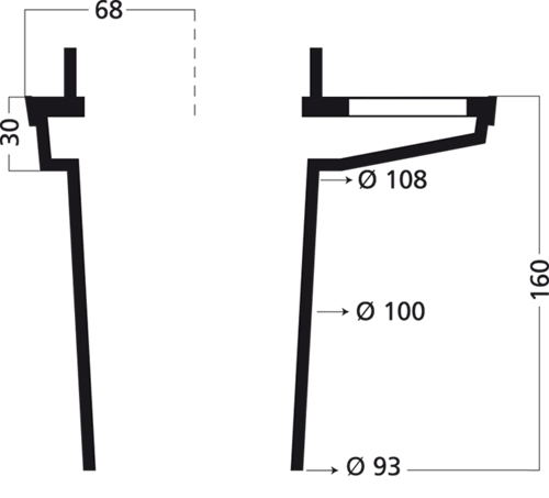 Additional image for Aluminium Drain With 100mm Vertical Outlet (200x133mm).