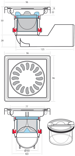 Additional image for Square Shower Drain 100x100mm (Brass).