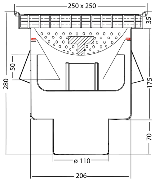 Additional image for Drain With 110mm Vertical Outlet 250x250mm (Mesh).