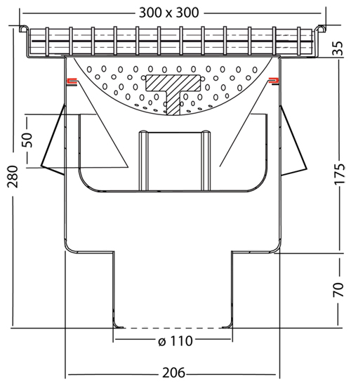 Additional image for Drain With 110mm Vertical Outlet 300x300mm (Mesh).