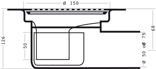 Additional image for Shower Drain With 75mm Horizontal Outlet (150mm, PEH).