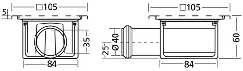 Additional image for Shower Drain 100x100mm (Stainless Steel).