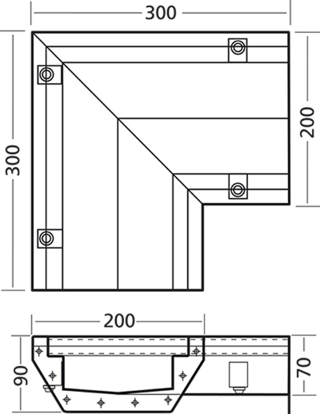 Additional image for Connect Channel Corner Part 300x300x200mm.