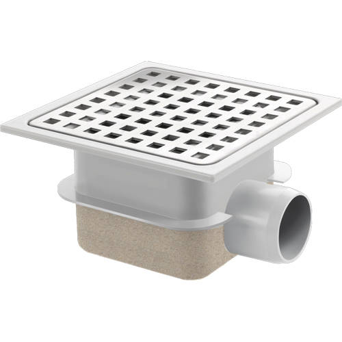 Additional image for ABS Plastic Shower Drain 150x150mm (Steel Grate).