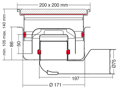 Additional image for Commercial Drain 200x200mm (Airtight Cover)