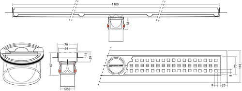 Additional image for Premium Line Shower Channel 1100x70mm.