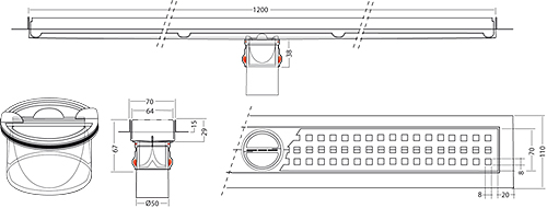 Additional image for Premium Line Shower Channel 1200x70mm.