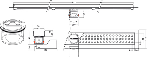 Additional image for Premium Line Shower Channel 300x70mm.