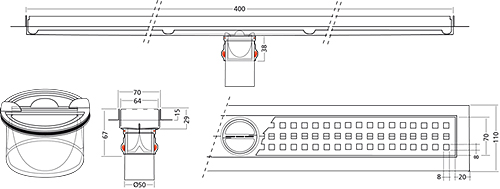 Additional image for Premium Line Shower Channel 400x70mm.