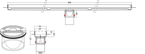 Additional image for Premium Line Shower Channel 600x70mm (Plain).