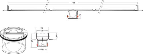 Additional image for Premium Shower Channel 700x70mm (Plain, Black).