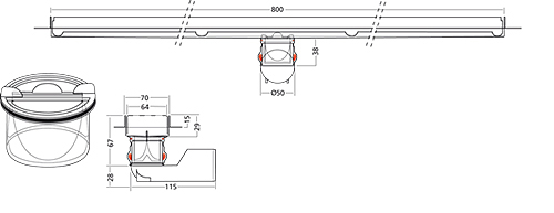 Additional image for Premium Line Shower Channel 800x70mm (Plain).