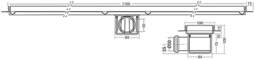 Additional image for Standard Shower Channel 1100x100mm (Plain, S Steel).