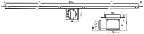 Additional image for Standard Shower Channel 2000x100mm (S Steel).