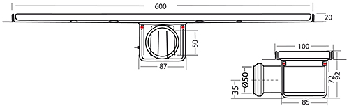 Additional image for Standard Shower Channel 600x100mm (Plain, S Steel).