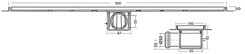 Additional image for Standard Shower Channel 900x100mm (Wave).