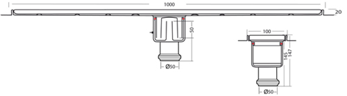 Additional image for Standard Shower Channel 1000x100mm (Plain, S Steel).