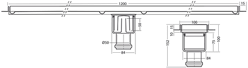 Additional image for Standard Shower Channel 1200x100mm (Plain, S Steel).