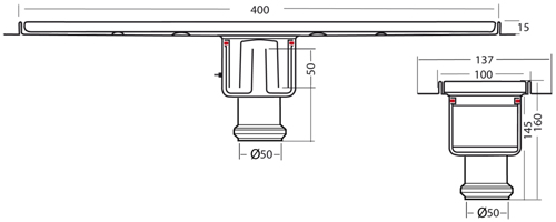 Additional image for Standard Shower Channel 400x100mm (S Steel).
