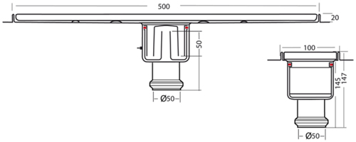 Additional image for Standard Shower Channel 500x100mm (S Steel).