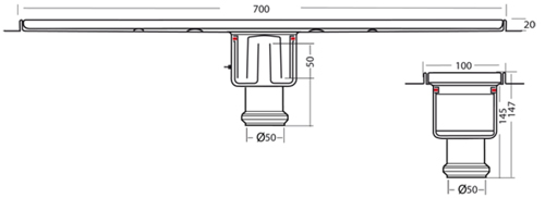 Additional image for Standard Shower Channel 700x100mm (Plain, S Steel).