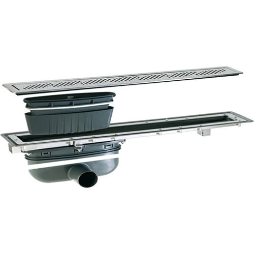 Additional image for Shower Channel Drain (900x100mm, Stainless Steel Grating).