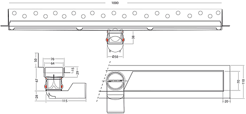 Additional image for Premium Shower Channel, Wall Flange 1000x70mm.