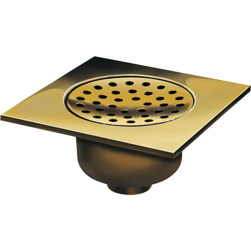 Additional image for Shower Drain 200x200mm (Polished Brass).
