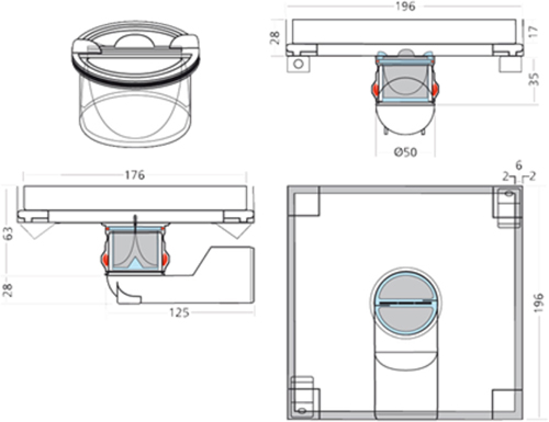 Additional image for Shower Tile Drain 196x196mm (Stainless Steel).