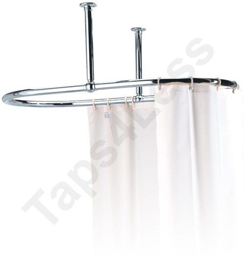 Oval Shower Curtain Rail With 2 X Ceiling Brackets Chrome