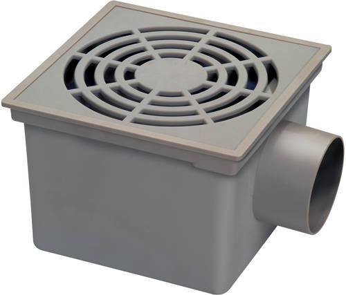 Additional image for Square Plastic Shower Gully With Side Outlet (200x200).