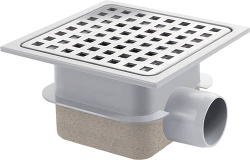 Additional image for Square Plastic Shower Gully With Side Outlet (150x150).